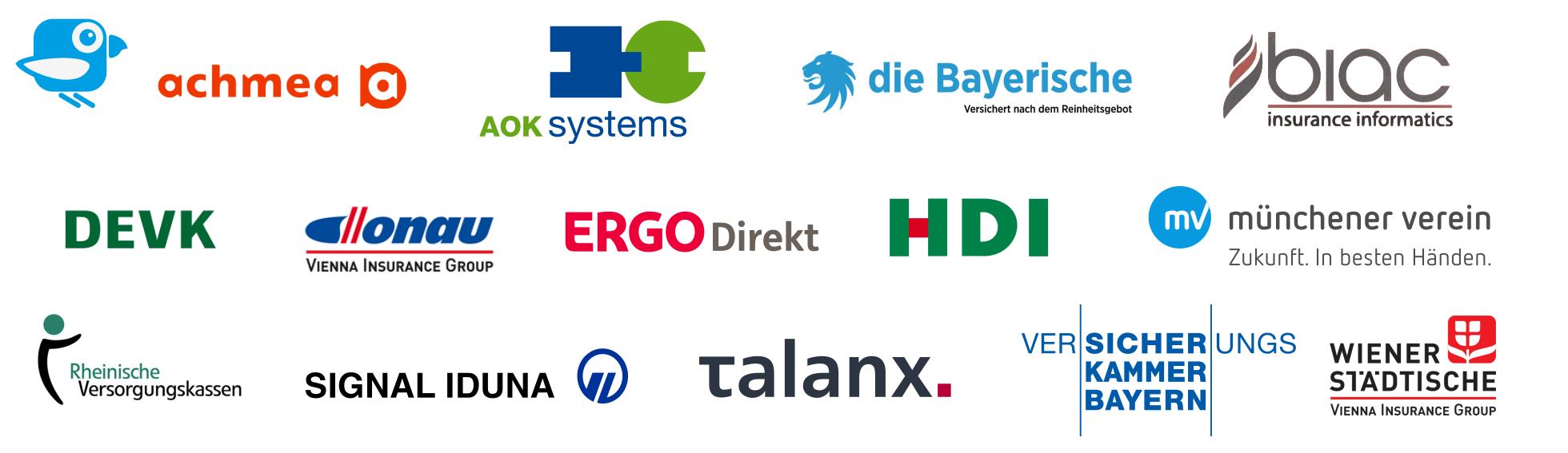 Community references: AOK, BIAC, Münchener Verein, Signal Iduna, Talanx, Achmea, ERGO Direkt